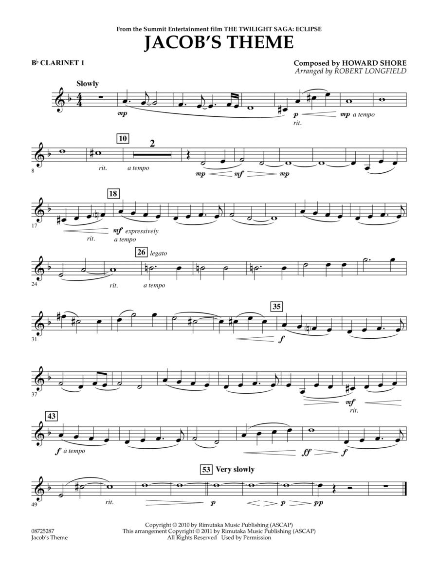 Jacob's Theme (from The Twilight Saga: Eclipse) - Bb Clarinet 1