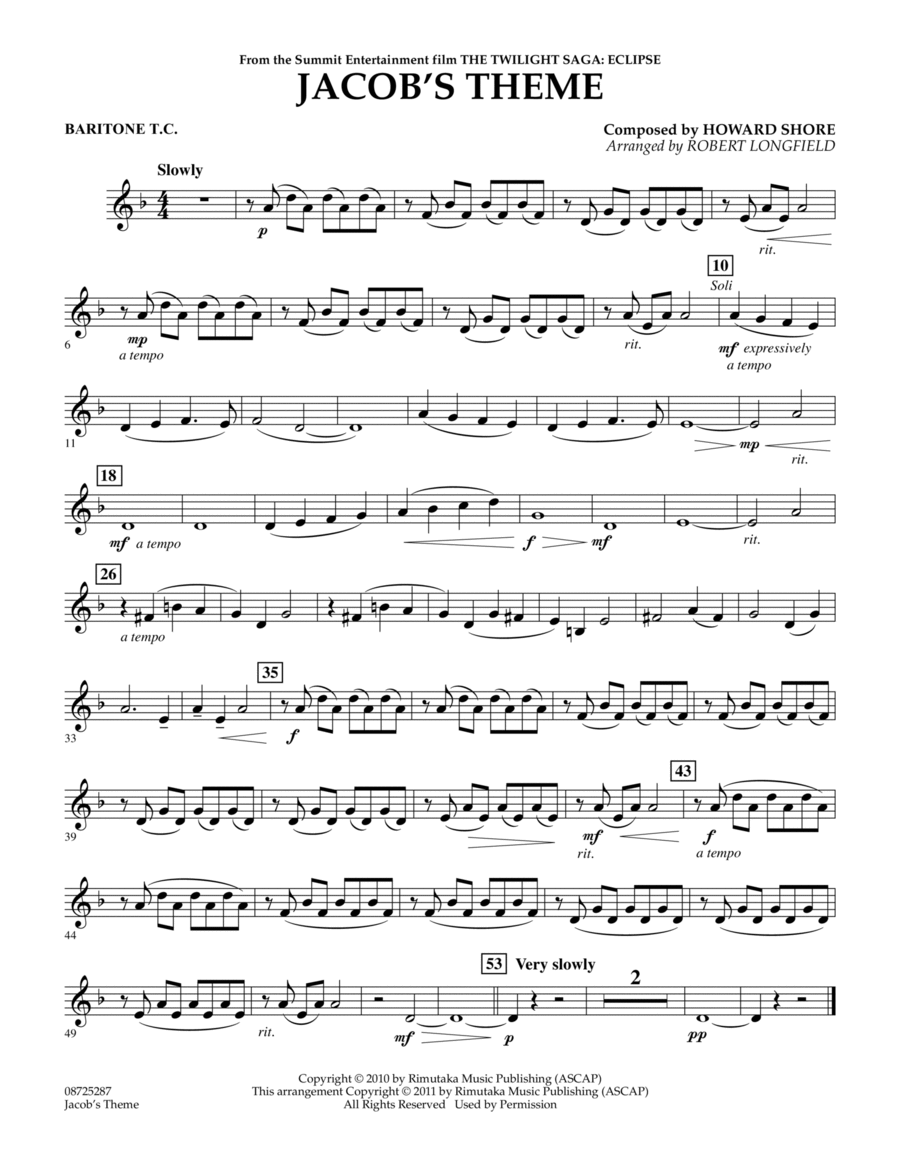 Jacob's Theme (from The Twilight Saga: Eclipse) - Baritone T.C.