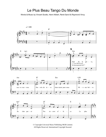 Download Le Plus Beau Tango Du Monde Sheet Music By Tino