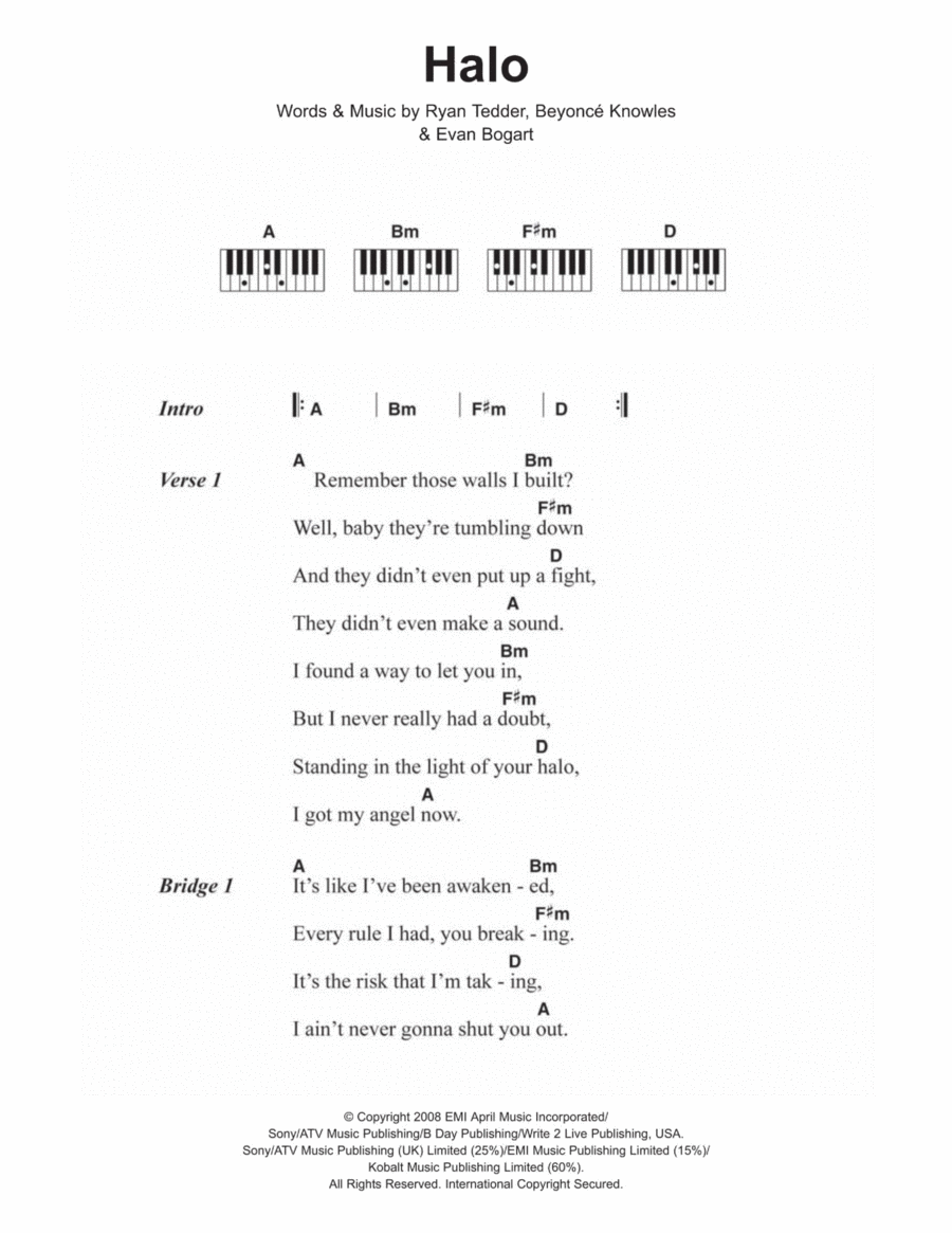 Ukulele halo ukulele chords : Download Halo Sheet Music By Beyonce - Sheet Music Plus