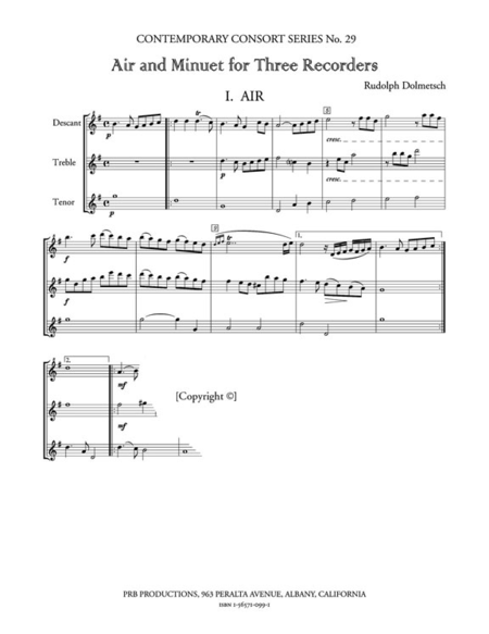 Air and Minuet (playing score)