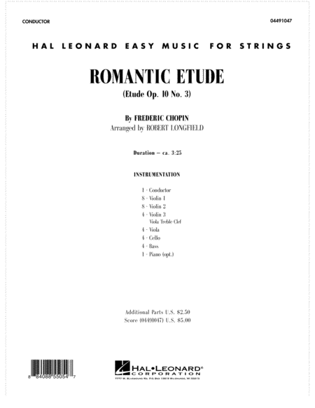Romantic Etude (Op. 10, No. 3) - Full Score