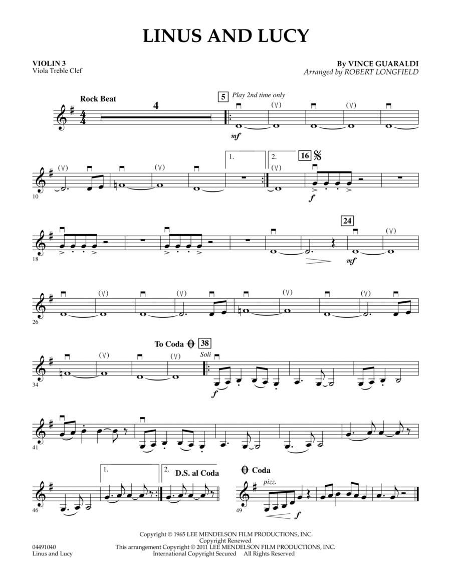 Linus And Lucy - Violin 3 (Viola Treble Clef)