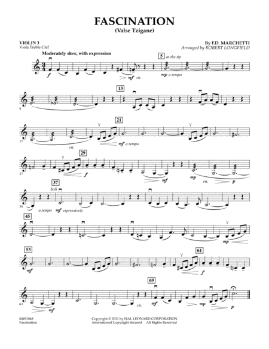 Fascination (Valse Tzigane) - Violin 3 (Viola Treble Clef)