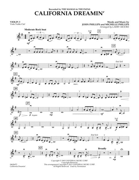 California Dreamin' - Violin 3 (Viola Treble Clef)