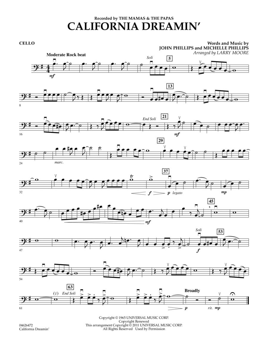 California Dreamin' - Cello
