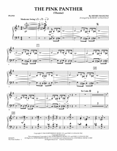 The Pink Panther (Theme) - Piano