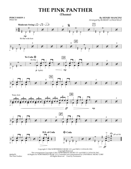 The Pink Panther (Theme) - Percussion 1