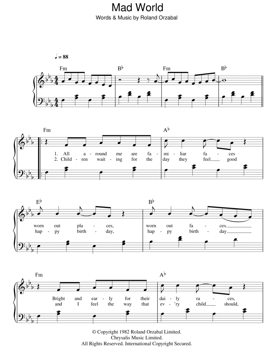 mad world piano tabs Tags : mad world piano tabs ukulele tabs ...