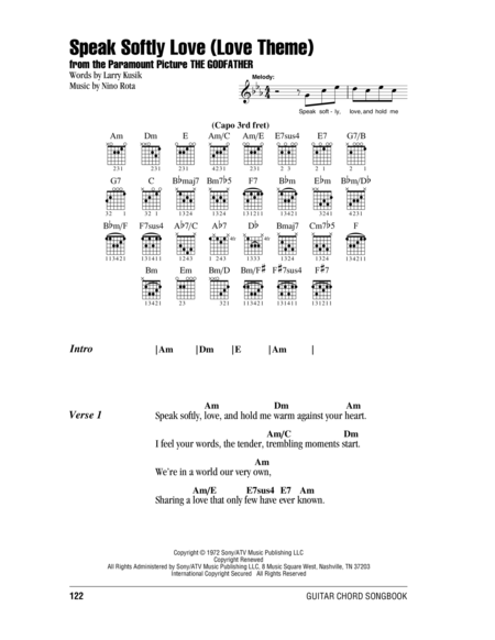 Download Speak Softly Love Love Theme Sheet Music By Andy