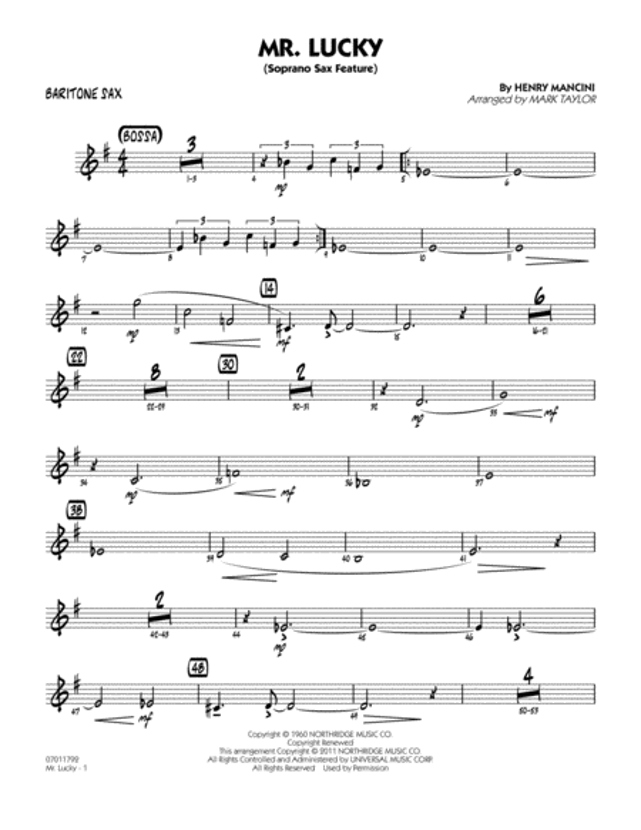 Mr. Lucky (Soprano Sax Feature) - Baritone Sax