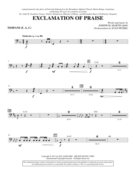 Exclamation Of Praise - Timpani