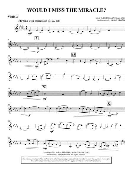 Would I Miss The Miracle? - Violin 2