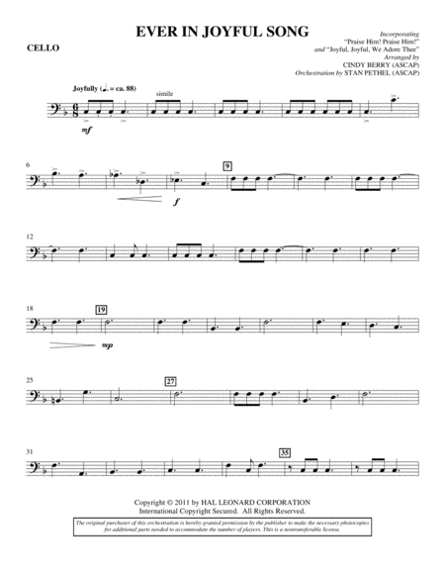 Ever In Joyful Song - Cello