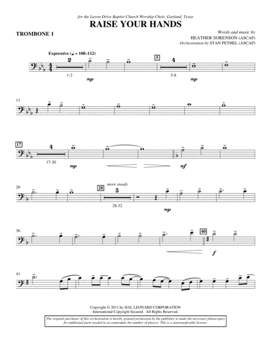 Raise Your Hands - Trombone 1