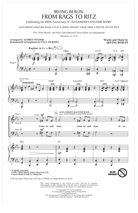 Irving Berlin: From Rags To Ritz (Medley)