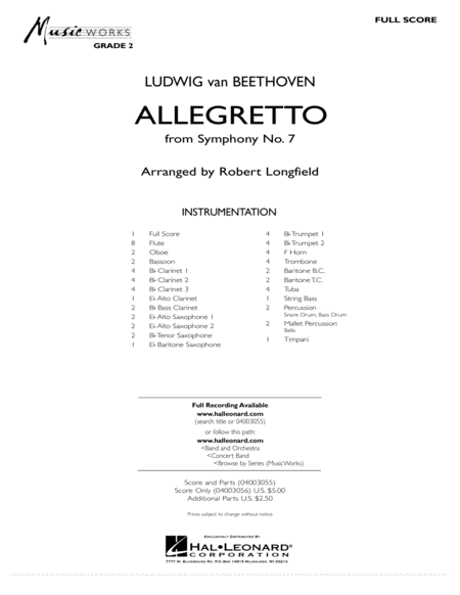 Allegretto (from Symphony No. 7) - Full Score