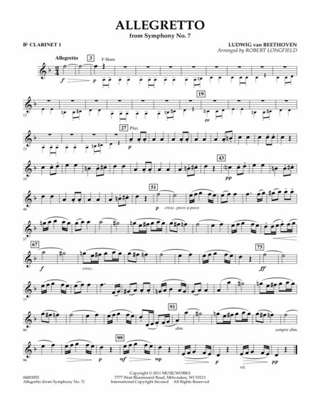 Allegretto (from Symphony No. 7) - Bb Clarinet 1