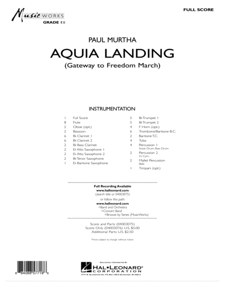 Aquia Landing (Gateway To Freedom March) - Full Score