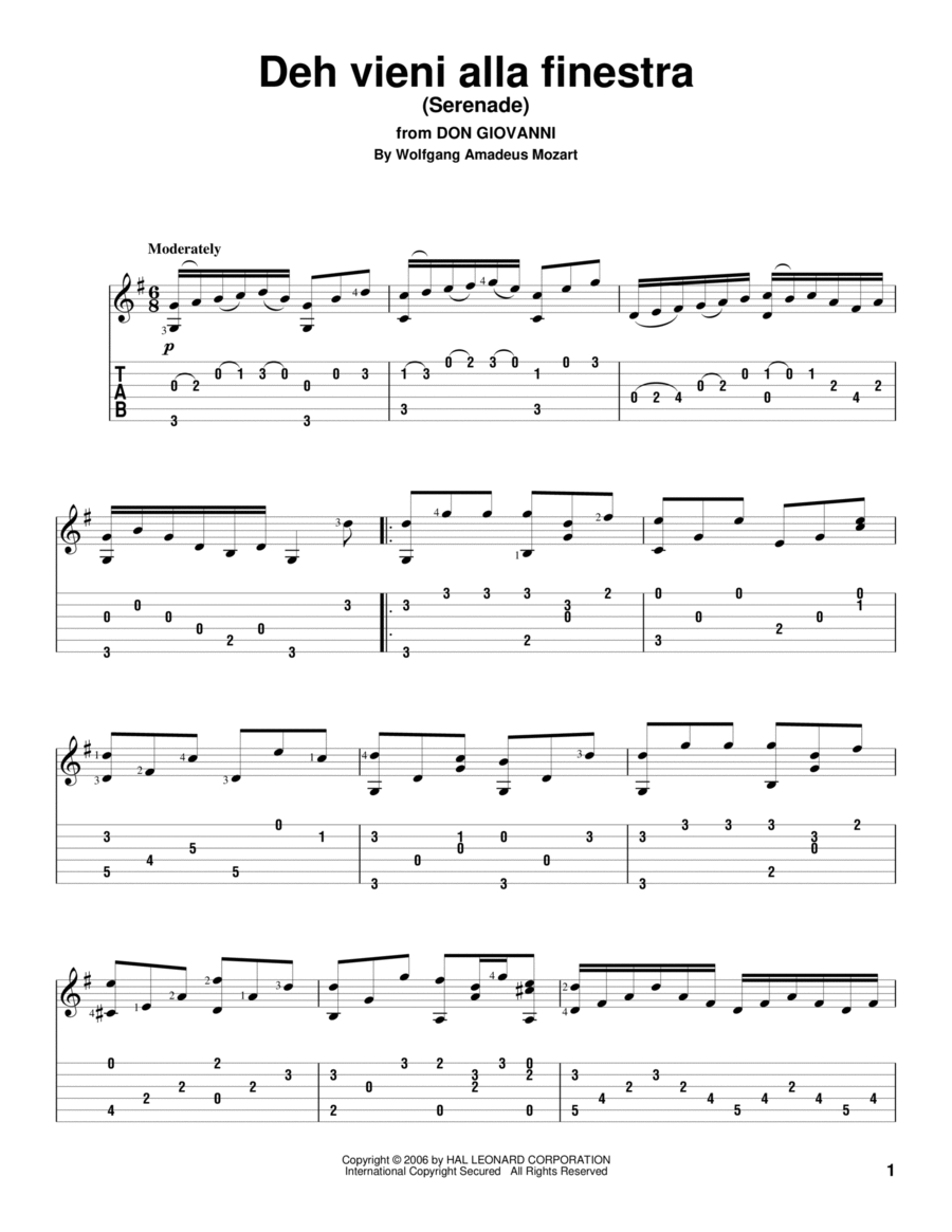 Deh Vieni Alla Finestra (Serenade)