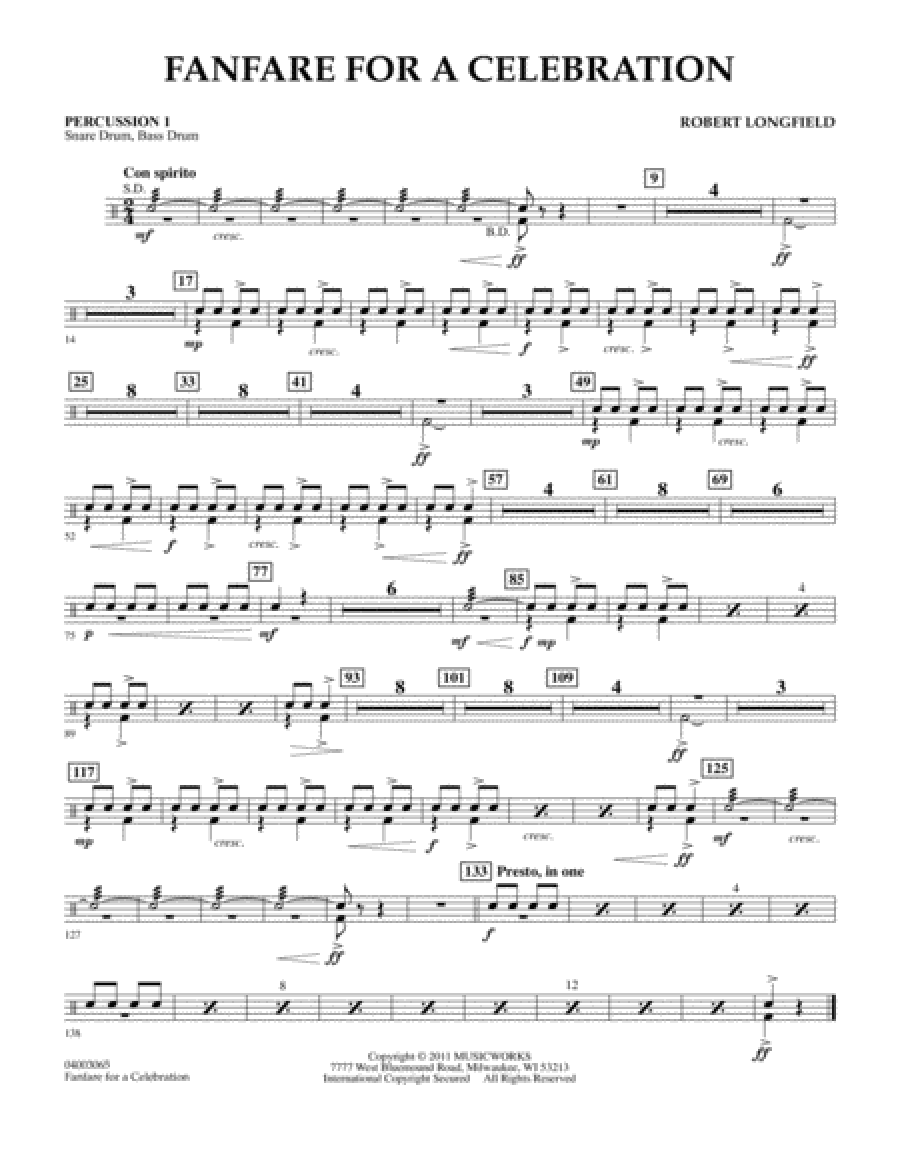 Fanfare For A Celebration - Percussion 1