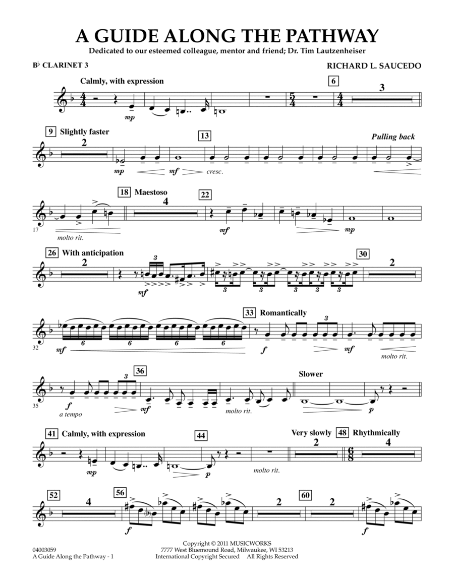 A Guide Along The Pathway - Bb Clarinet 3