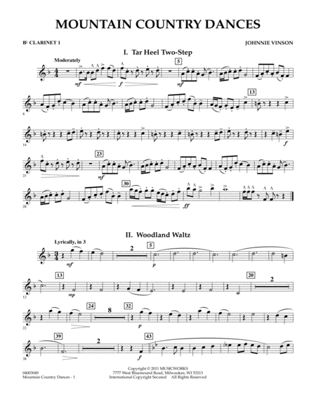 Mountain Country Dances - Bb Clarinet 1