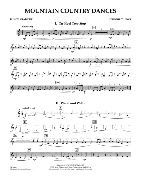 Mountain Country Dances - Eb Alto Clarinet