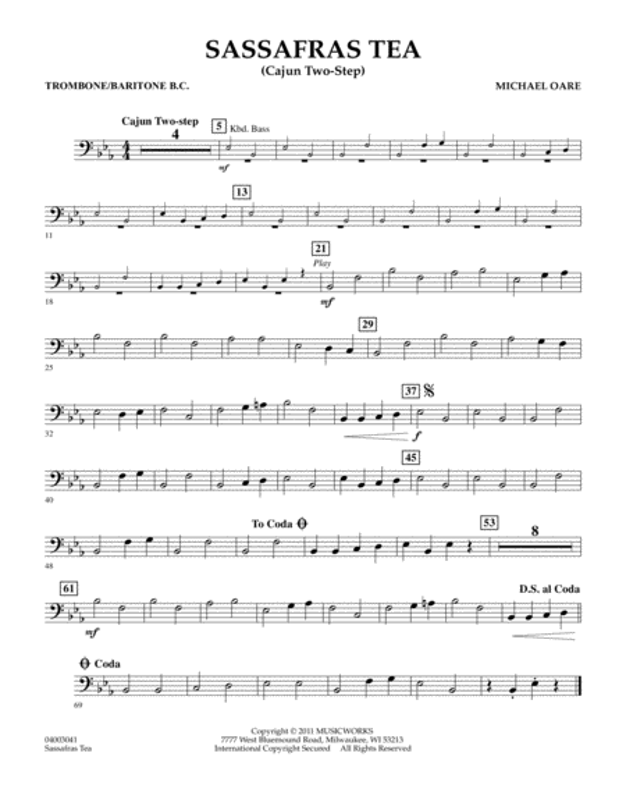 Sassafras Tea (Cajun Two-Step) - Trombone/Baritone B.C.