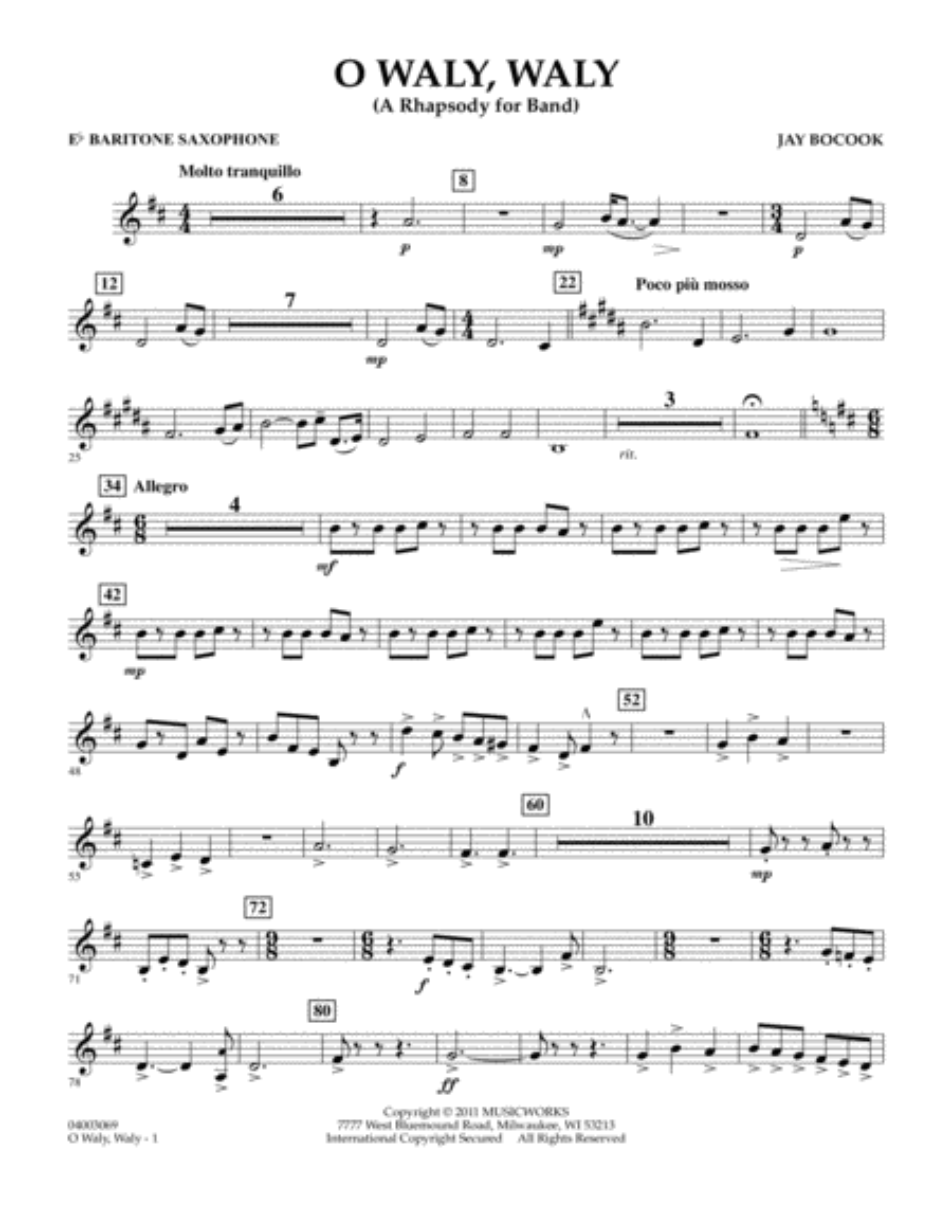 O Waly Waly (A Rhapsody For Band) - Eb Baritone Saxophone