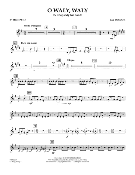 O Waly Waly (A Rhapsody For Band) - Bb Trumpet 3