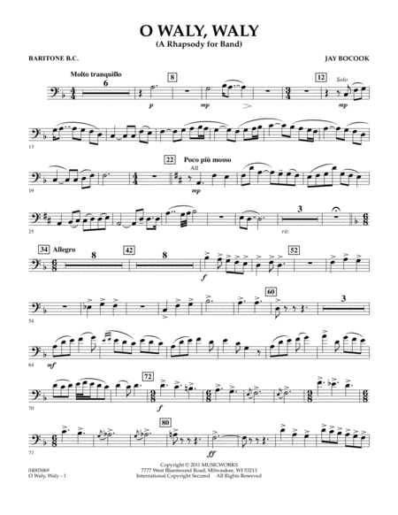 O Waly Waly (A Rhapsody For Band) - Baritone B.C.