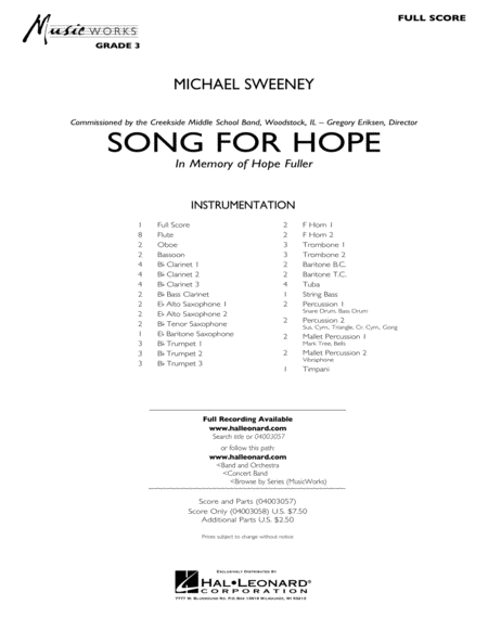Song For Hope - Full Score