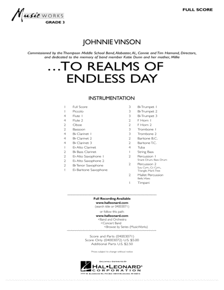 ...To Realms Of Endless Day - Conductor Score (Full Score)