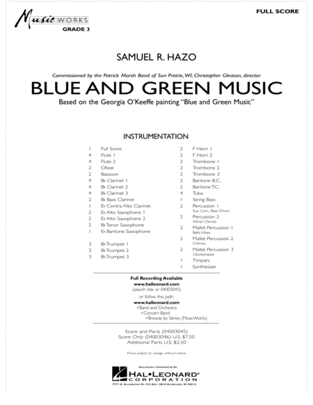 Blue And Green Music - Full Score