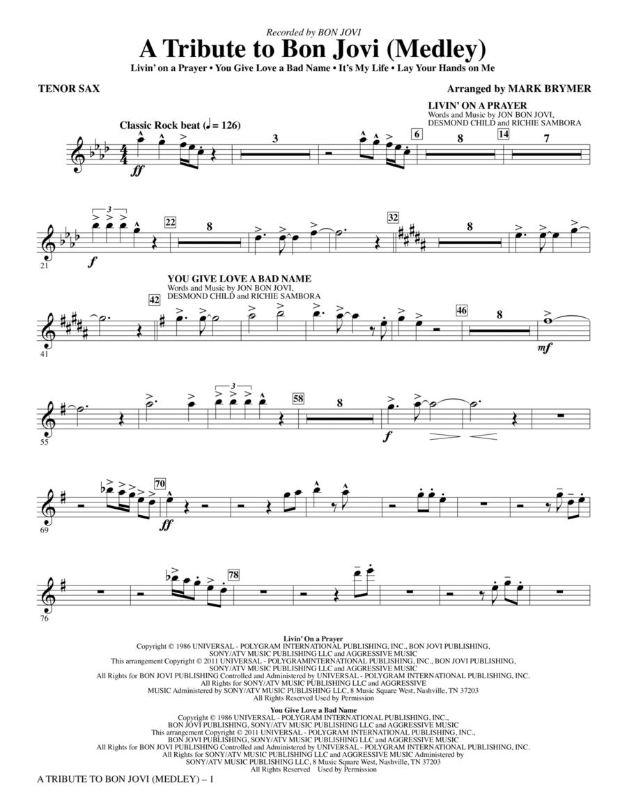 A Tribute To Bon Jovi (Medley) - Bb Tenor Saxophone