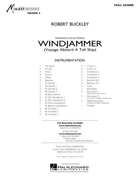 Windjammer (Voyage Aboard A Tall Ship) - Full Score