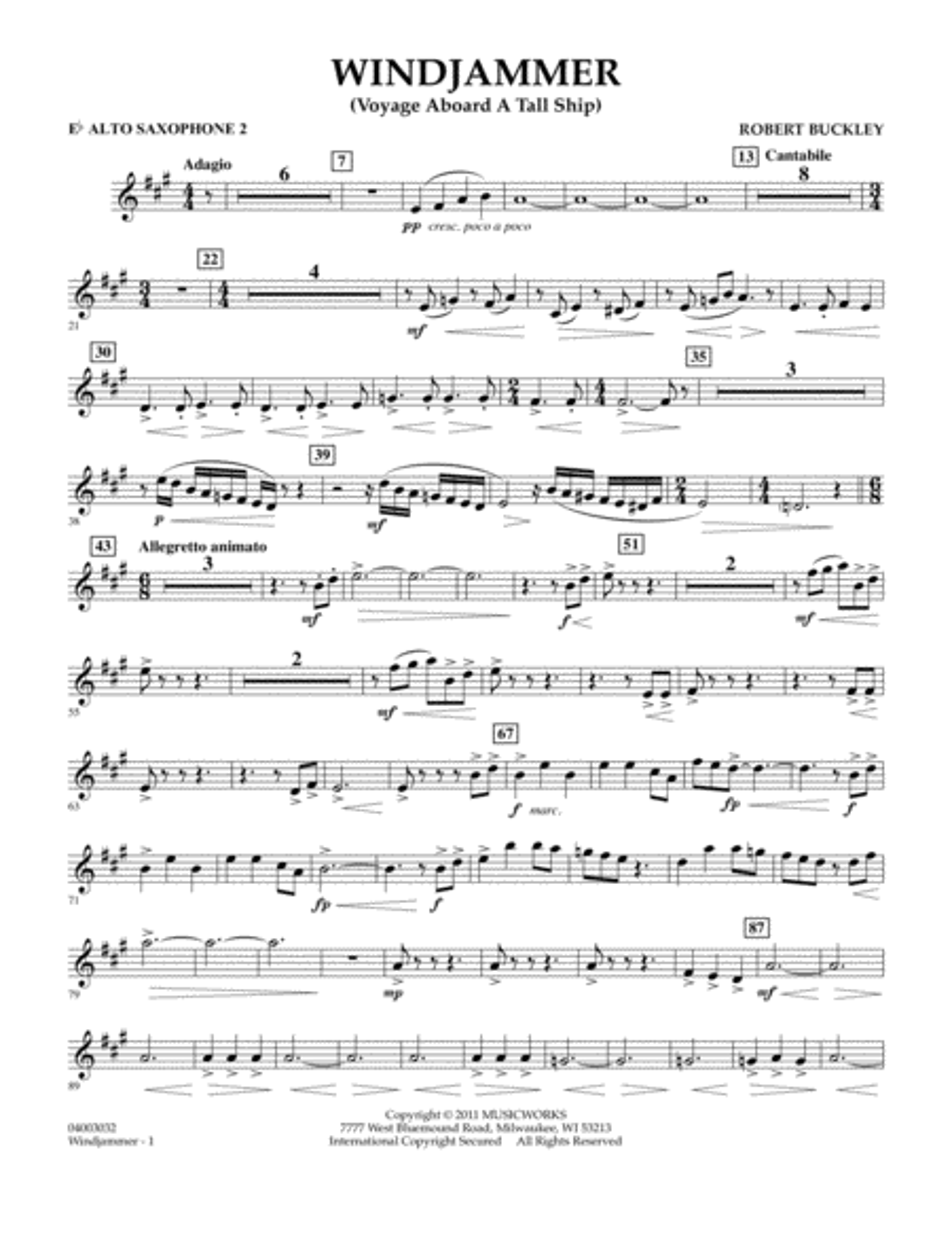 Windjammer (Voyage Aboard A Tall Ship) - Eb Alto Saxophone 2