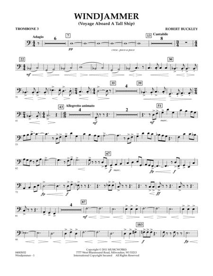Windjammer (Voyage Aboard A Tall Ship) - Trombone 3