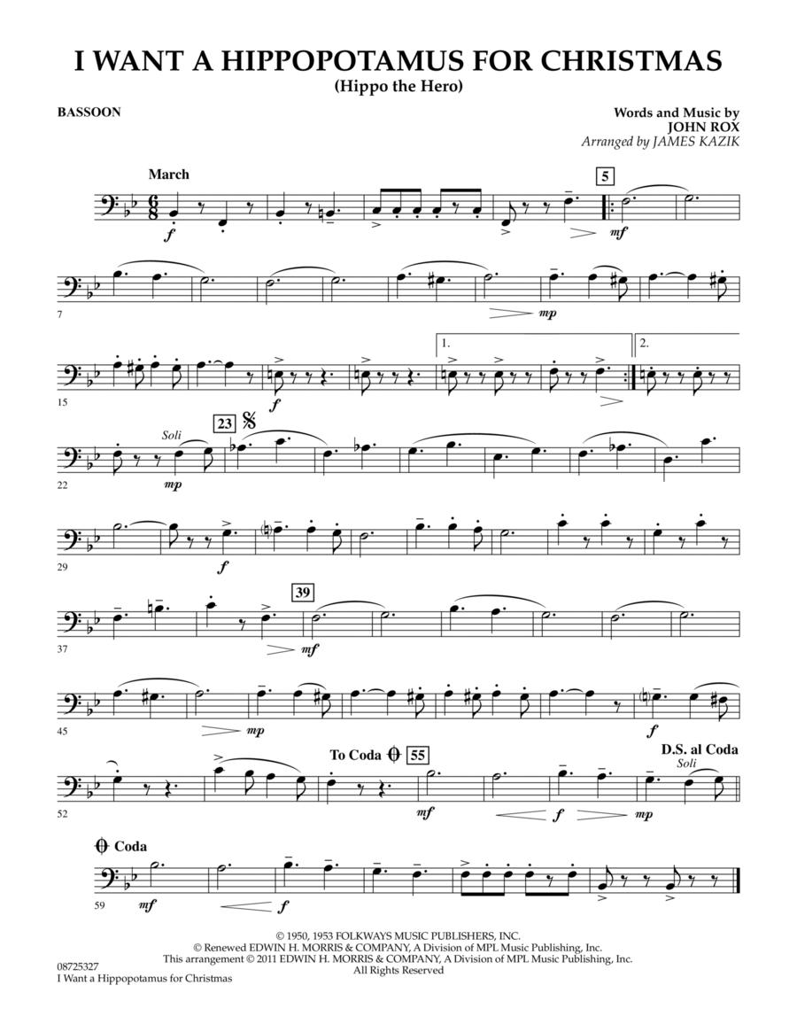 Download I Want A Hippopotamus For Christmas - Bassoon Sheet Music ...