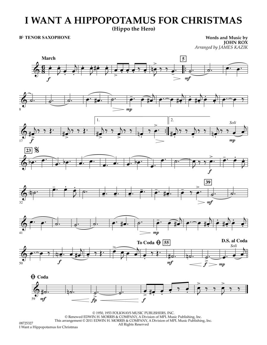 I Want A Hippopotamus For Christmas - Bb Tenor Saxophone