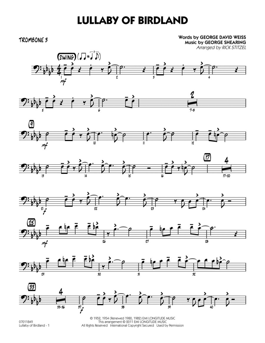 Lullaby Of Birdland - Trombone 3