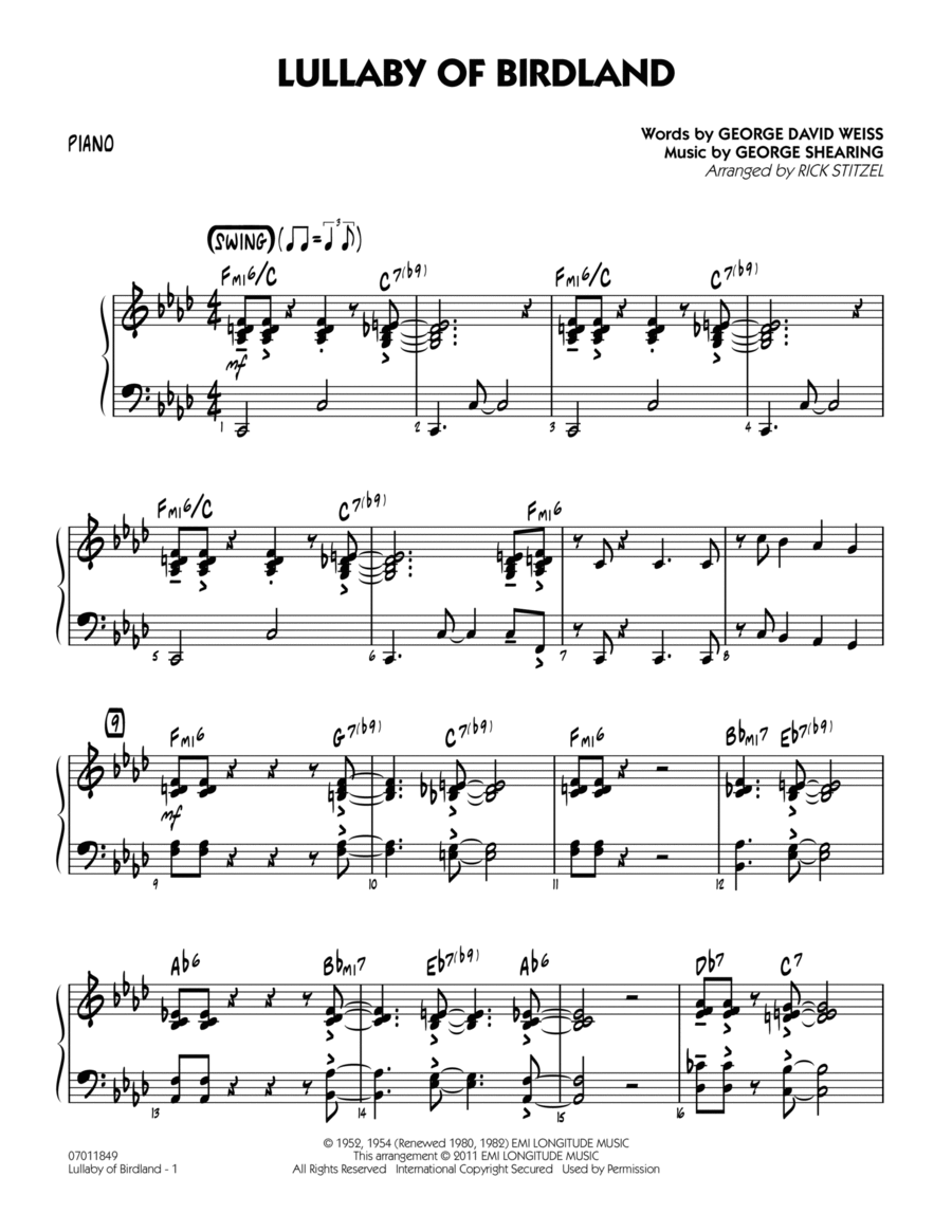 Lullaby Of Birdland - Piano