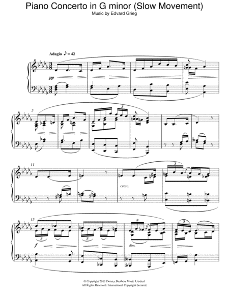 Piano Concerto in G minor (Slow Movement)