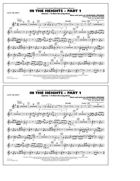 In The Heights: Part 1 - 3rd Bb Trumpet