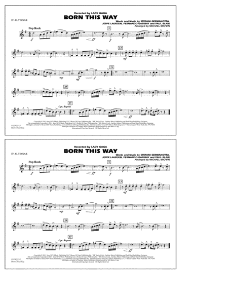 Born This Way - Eb Alto Sax