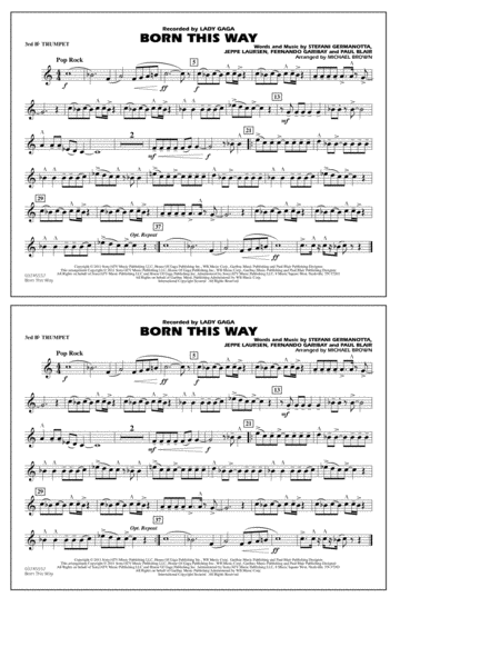Born This Way - 3rd Bb Trumpet