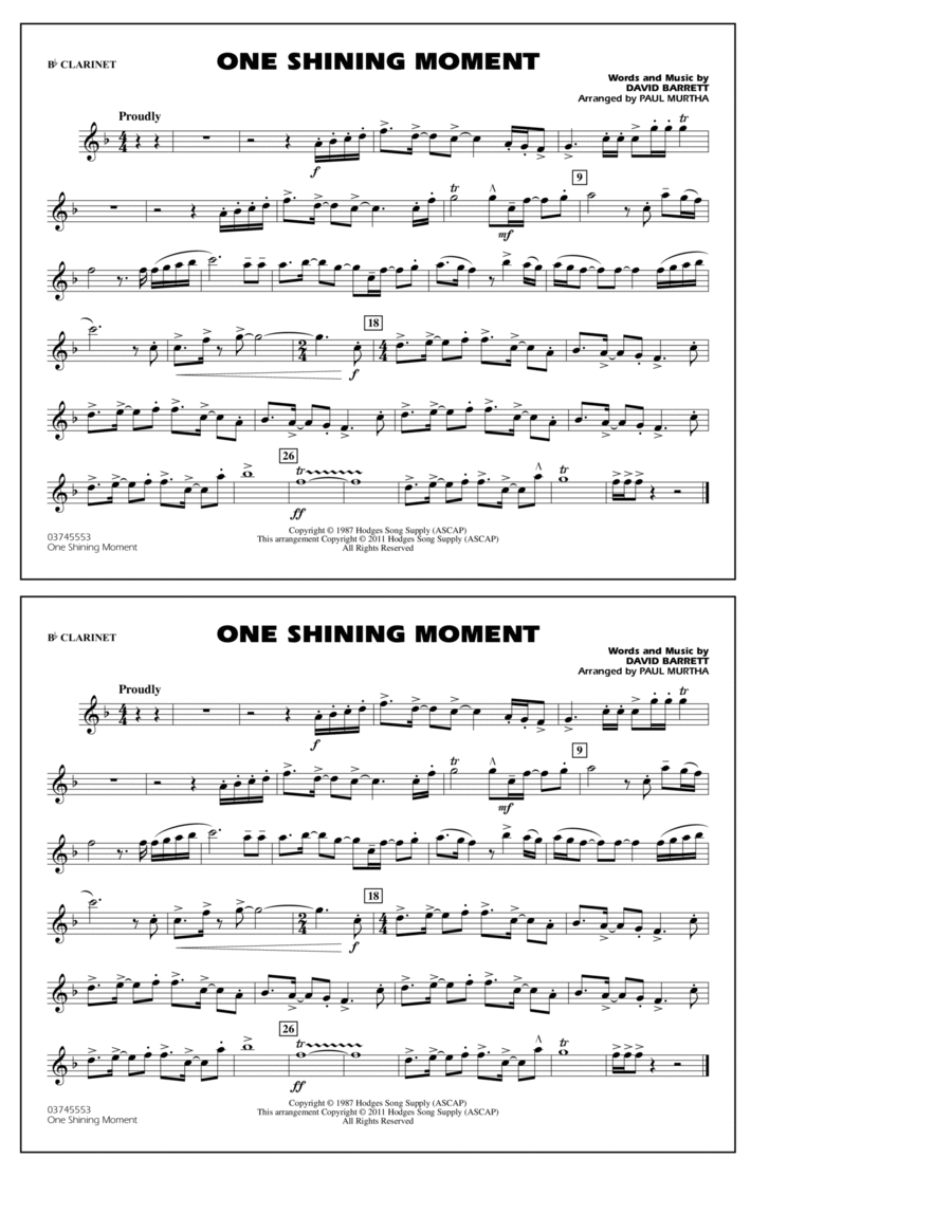 One Shining Moment - Bb Clarinet