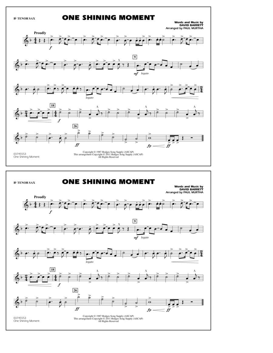 One Shining Moment - Bb Tenor Sax