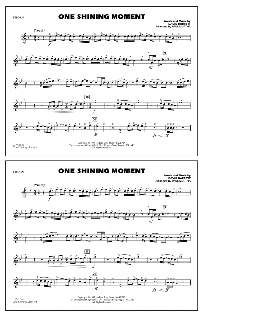 One Shining Moment - F Horn